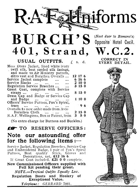 Burchs RAF Uniforms - Astounding Offers For Reserve Officers