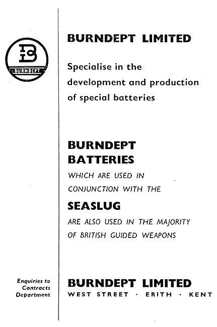 Burndept Batteries For Guided Missiles 1958