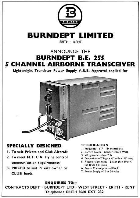 Burndept B.E.255 Channel Airborne Transceiver 1959