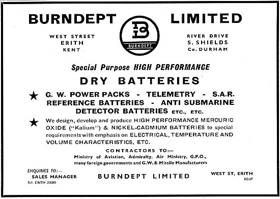 Burndept Dry Batteries For Aircraft