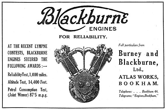 Burney & Blackburne. Blackburne Reliable Aero Engines