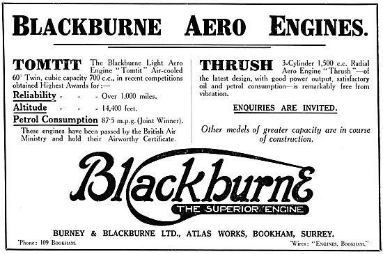 Burney & Blackburne. Blackburne Tomtit | Blackburne Thrush 1925