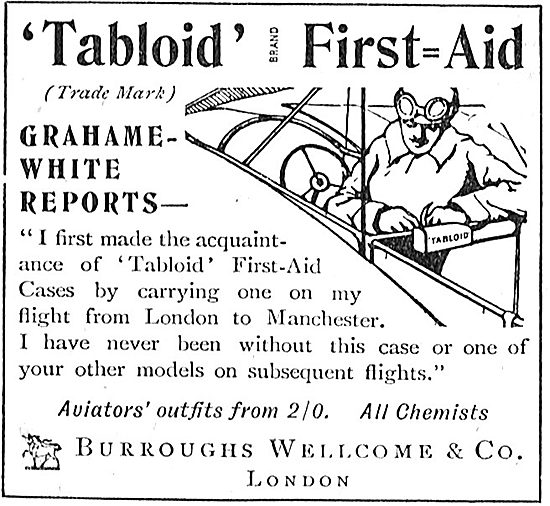 Grahame-White Endorses Burroughs Wellcome Tabloid First Aid Outfi