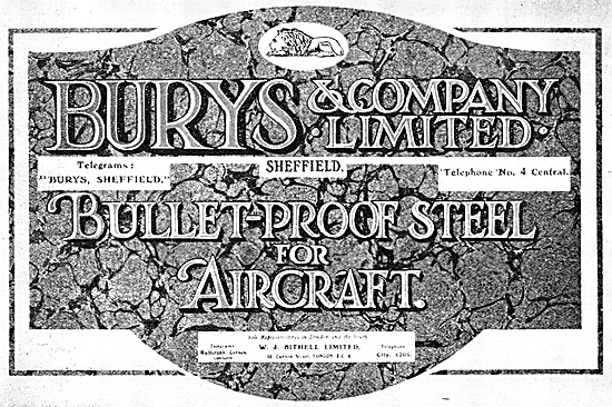 Burys Bullet-Proof Steel For Aircraft 1917