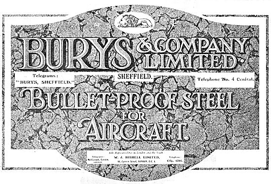 Burys & Company Ltd. Sheffield. Bullet-Proof Steel For Aircraft