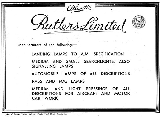 Butlers Ltd. Small Heath. Aircraft Electrical Parts & Lighting