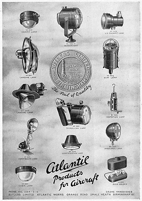 Butlers Ltd. Small Heath. Birmingham. Aero Electrical & Lighting