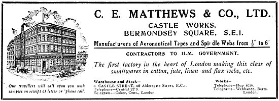 C.E.Matthews & Co Ltd. Aeronautical Tapes, Webs & Cords