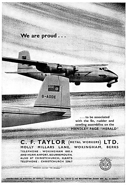 C.F.Taylor Sheet Metal Workers To The Aircraft Industry