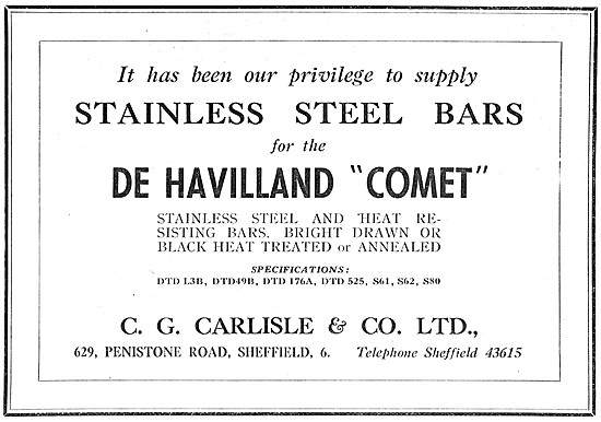 C.G.Carlisle Stainless Steel Bars. DTD L3B DTD49B DTD176A