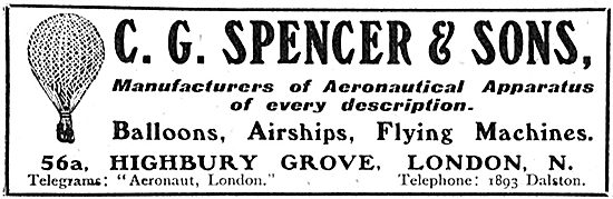 C G Spencer & Sons. Manufacturers Of Balloons & Flying Machines