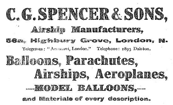 C G Spencer & Sons Highbury Grove - Airship & Aeroplane Mfgrs