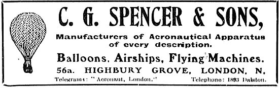 C G Spencer & Sons - Manufacturers Of Aeronautical Apparatus