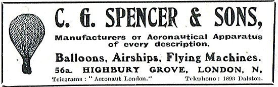 C G Spencer & Sons Manufacturers Of Airships & Flying Machines