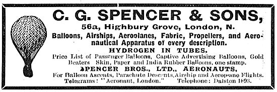 C G Spencer & Sons Aeronauts - Balloons, Airships & Propellers