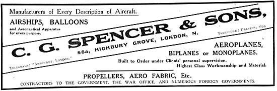 C G Spencer & Sons.Manufacturers Of Aircraft, Balloons & Airships