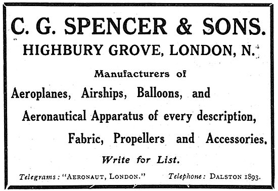 C G Spencer & Sons - Aeronautical Apparatus Of Every Description