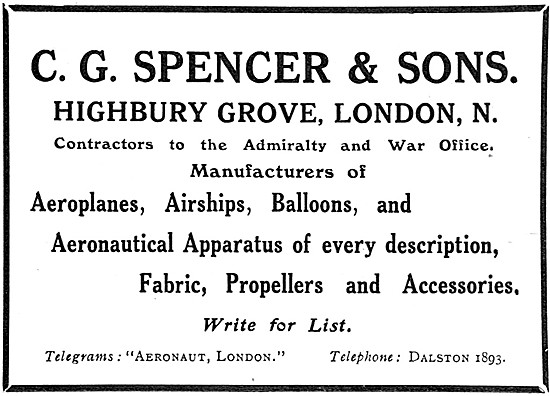 C.G.Spencer Manufacturers Of Aircraft, Balloons & Accessories