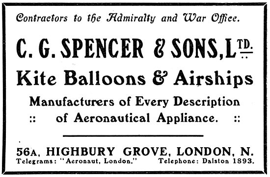 C G Spencer & Sons. Kite Ballons & Airships 1916