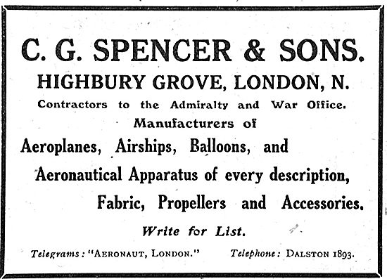 C G Spencer & Sons. Manufacturers Of Aeroplanes & Airships