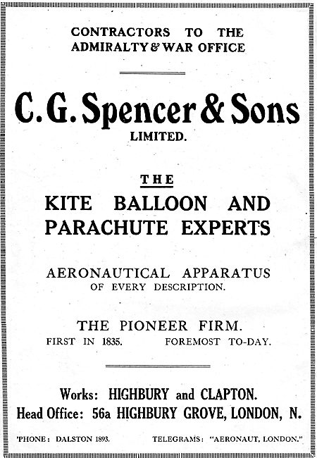 C G Spencer & Son Highbury. Kite Balloon & Parachute Experts