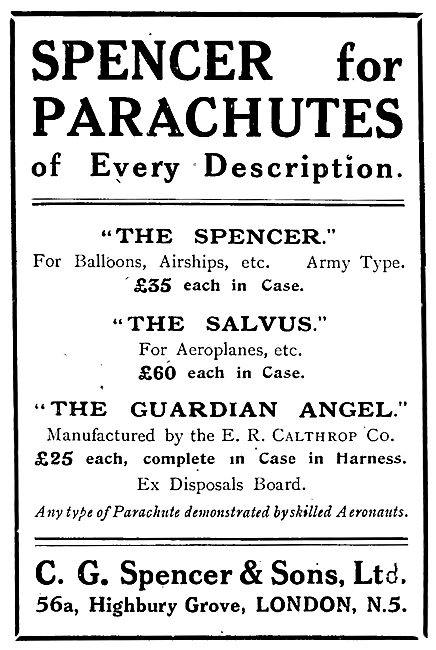 C G Spencer Parachutes The Spencer - The Salvus - Guardian Angel