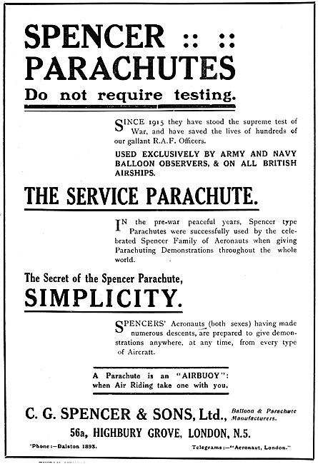 C.G.Spencer & Sons. Spencer Parachutes. 1919 Advert