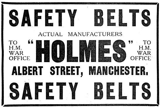 C.H.Holmes Aircraft Safety Belt Manufacturers 1916