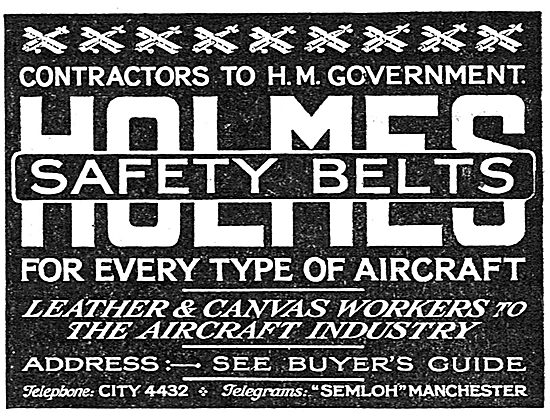 Holmes Leather Aircraft Safety Belts
