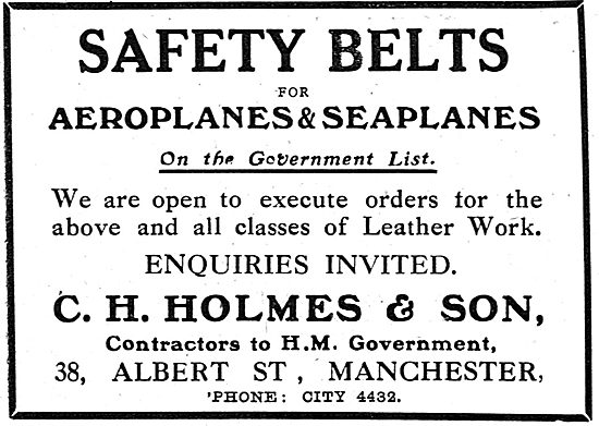 C.H Holmes. 38 Albert St, Manchester. Leather Work For Aircraft