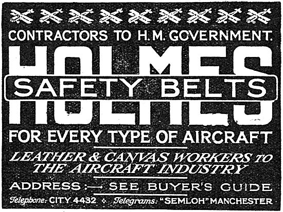Holmes Leather & Canvas- Leather Aircraft Safety Belts 1918