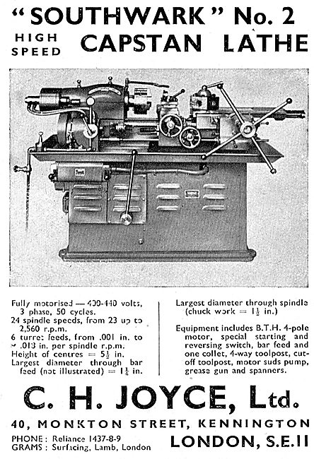 C.H.Joyce Lathes - Southwark No.2 High Speed Capstan Lathe 1942
