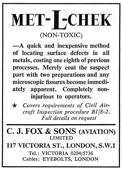 C.J.Fox  Met-L-Chek NDT Dye Penetrant Method