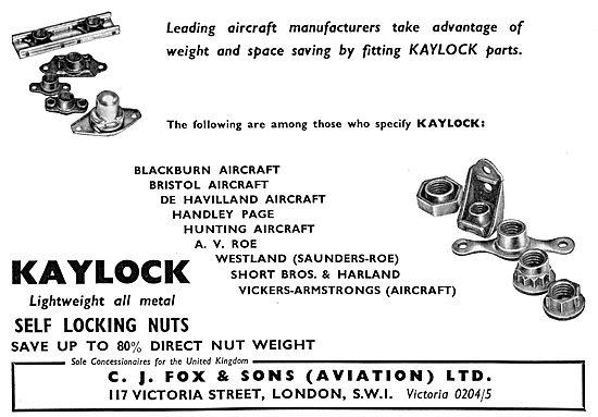 C.J.Fox  KAYLOCK Fasteners & Self Locking Nuts