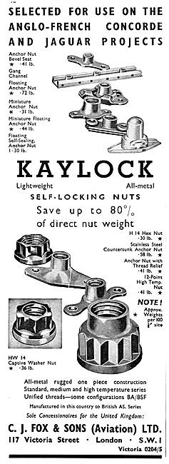 C.J.Fox Kaylock Self-Locking Nuts 1967