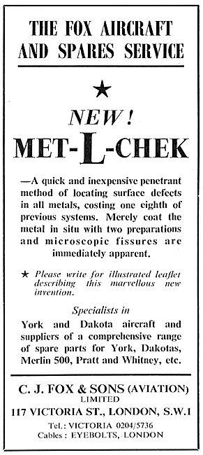 C.J.Fox NDT Dye Penetrant System - Met-L-Chek