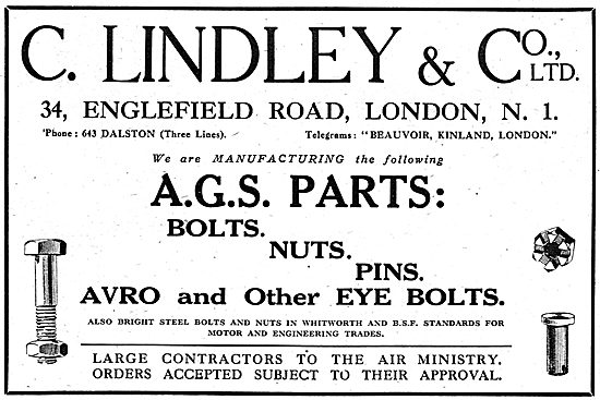 C.Lindley & Co. Manufacturers Of AGS Parts. 34, Englefield Rd, N1