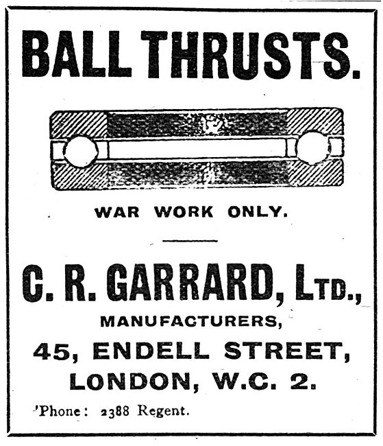 C.R.Garrad Ltd - Ball Thrusts. Bearings