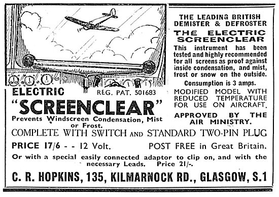 C.R.Hopkins Screenclear Electric Demister 1939