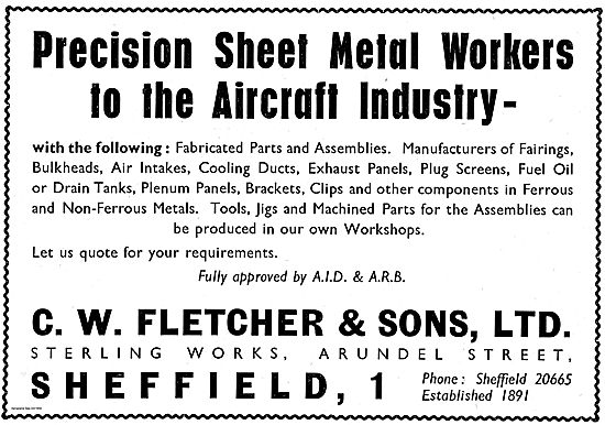 C.W.Fletcher Sheet Metal Work For The Aircraft Industry