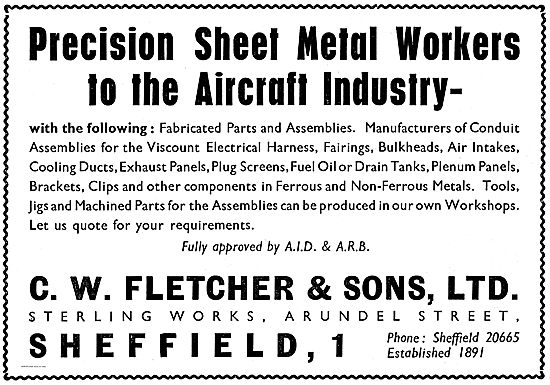 CW Fletcher Precision Sheet Metal Workers To The Aircraft Industr