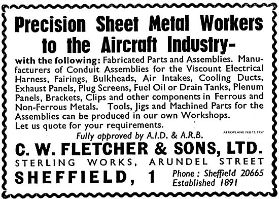 C.W.Fletcher Precision Sheet Metal Workers For  Aircraft Industry