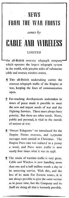 Cable And Wireless : Telegrams & Telegraphic Services