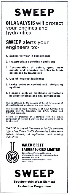 Caleb Brett Laboratories SWEEP Oil Analysis. Spectrometric