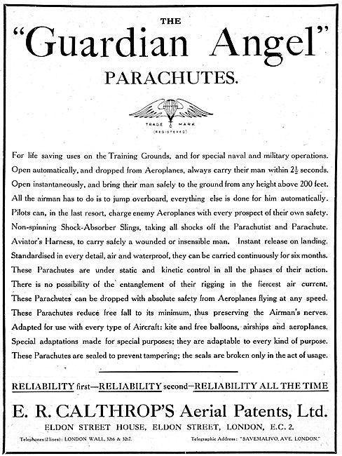 Calthrop Guardian Angel Parachute 1917