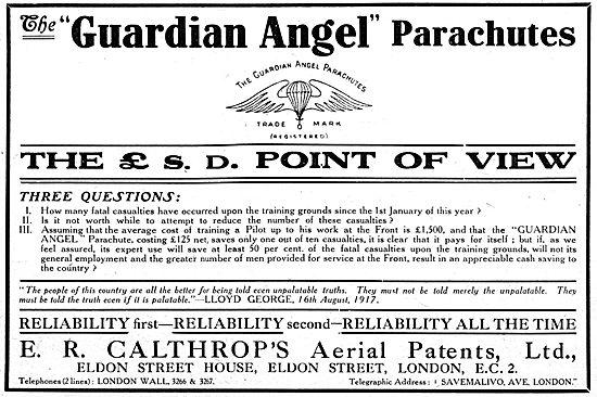 Calthrop Guardian Angel Parachute WW1