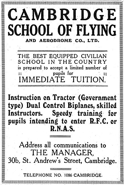 The Cambridge School Of Flying - RFC & RNAS Training