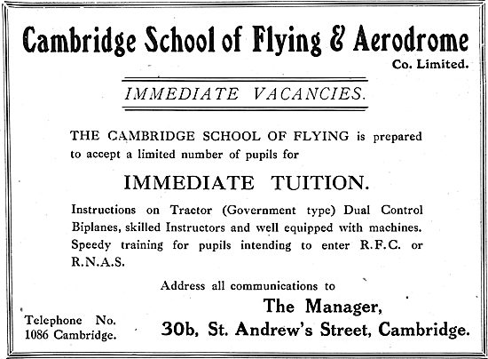 The Cambridge School Of Flying. Instruction On Tractor Biplanes