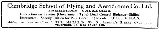 The Cambridge School Of Flying. RFC & RNAS Tuition