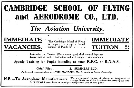 The Cambridge School Of Flying. WW1 Advert - 1917